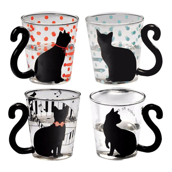 Black Cat Glass Cup (More Designs) - Cat Lovers Australia