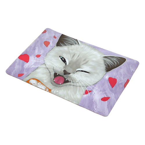 Bathroom, Laundry or Kitchen Mat with Winking Cat Print - Cat Lovers Australia