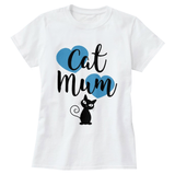 Cat Mum with Blue Hearts Print Women's T-Shirt - Cat Lovers Australia