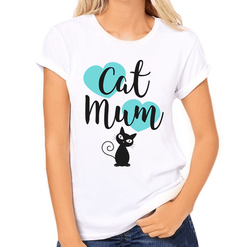Cat Mum with Teal Hearts Print Women's T-Shirt - Cat Lovers Australia