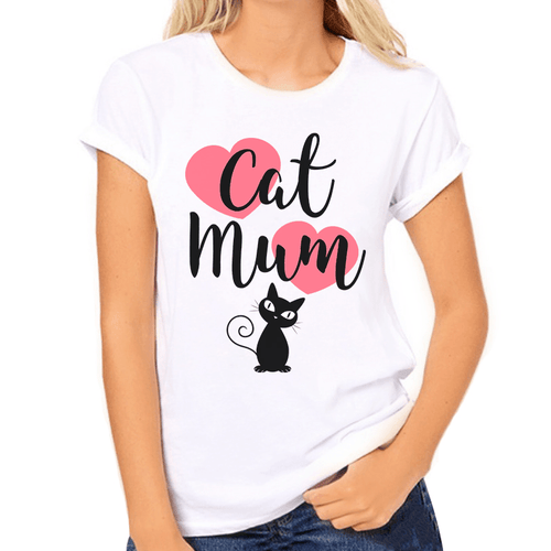 Cat Mum with Pink Hearts Print Women's T-Shirt - Cat Lovers Australia