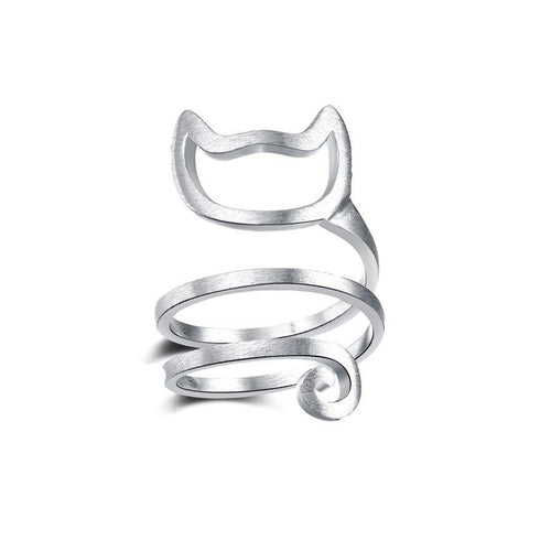 Sterling Silver Spiral Cat Ring - Cat Lovers Australia