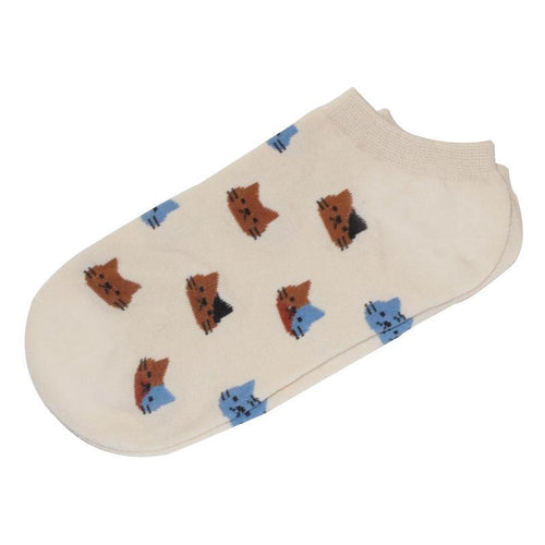 Cat Socks - Ankle, Beige - Cat Lovers Australia