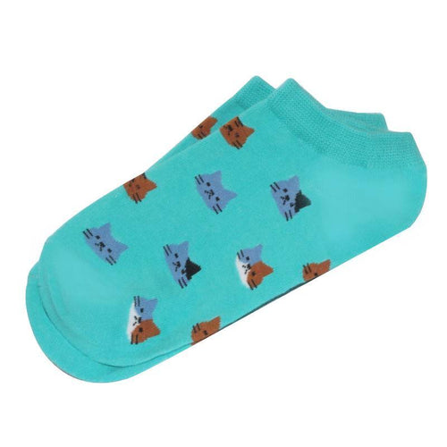 Cat Socks - Ankle, Green - Cat Lovers Australia