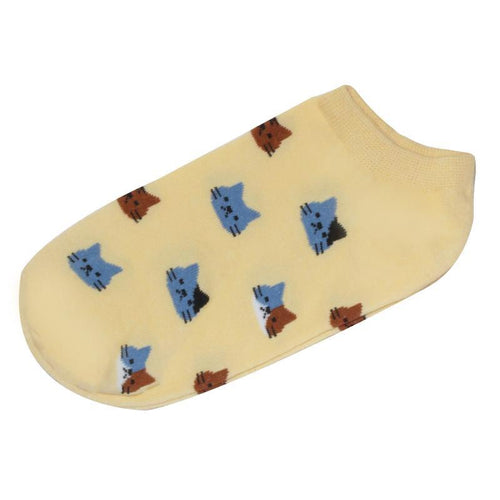 Cat Socks - Ankle, Yellow - Cat Lovers Australia
