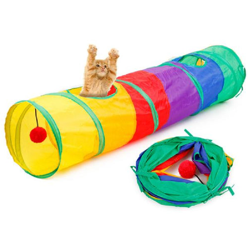 Cat Play Tunnel - Rainbow - Cat Lovers Australia