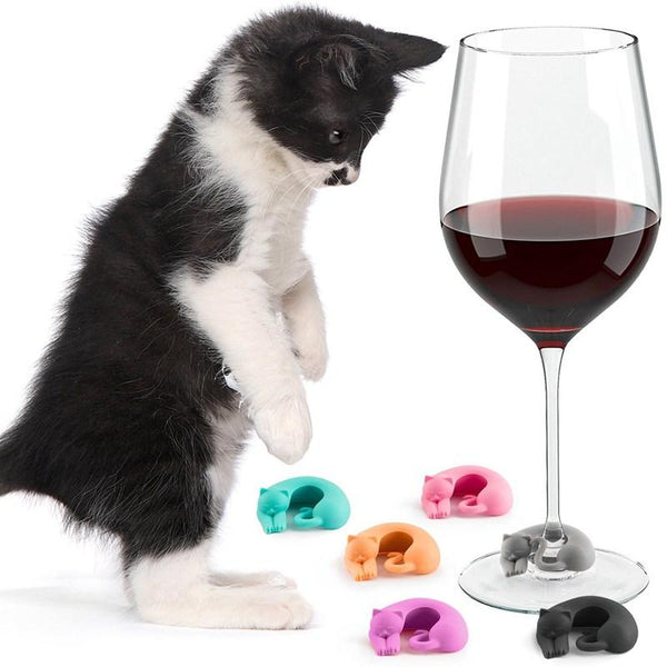 Cat Wine Charms: Set of 6 - Pastel Colours (Limited Edition) - Cat Lovers Australia