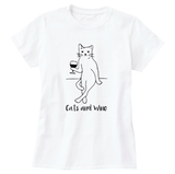Cats and Wine Print Women's T-Shirt - Cat Lovers Australia