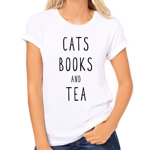 Cats Books and Tea Print Women's T-Shirt - Cat Lovers Australia