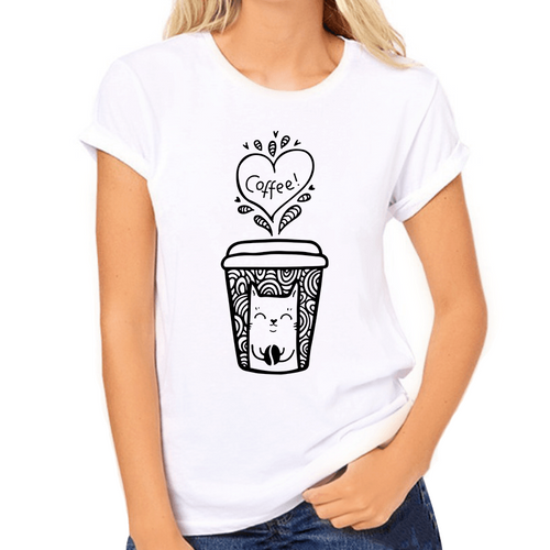 Coffee Cat Print Women's T-Shirt - Cat Lovers Australia