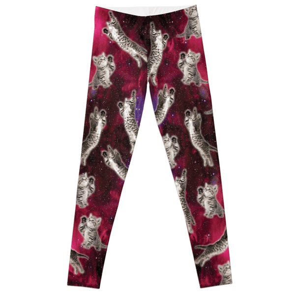 Women's Leggings with Galaxy Kittens Print - Cat Lovers Australia