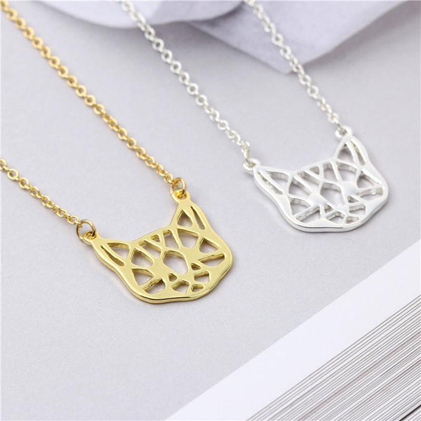 Geometric Cat Pendant Necklace (Gold or Silver) - Cat Lovers Australia
