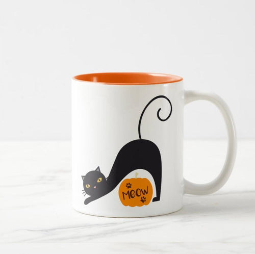 Halloween Cat Meow Two-Tone - Novelty Cat Mug - Cat Lovers Australia