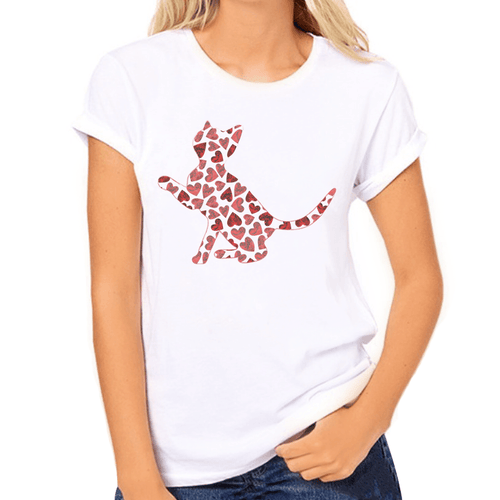 Kitten Hearts Silhouette Print Women's T-Shirt - Cat Lovers Australia