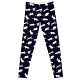 Women's Leggings with White Cats Playing Pattern - Cat Lovers Australia