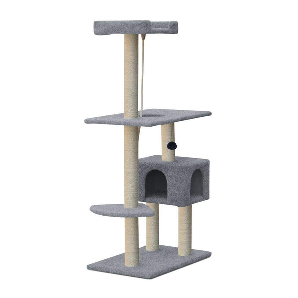 Tall Cat Scratcher Tree with Cubby House 145cm - Cat Lovers Australia