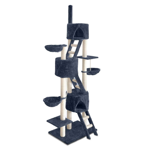 Luxury Cat Tree and Scratching Post with Ladder Grey - Cat Lovers Australia