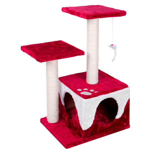 Luxury Cat Tree House and Scratching Post Red - Cat Lovers Australia