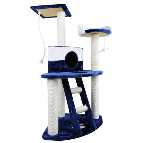Luxury Cat Tree Condo and Scratching Post Blue White - Cat Lovers Australia
