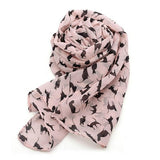 Women's Chiffon Scarf with Cat Pattern - Pink - Cat Lovers Australia
