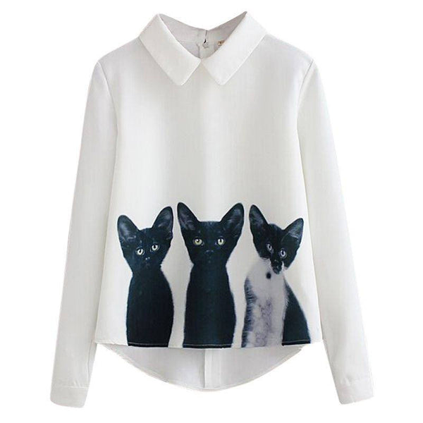 Women's White Long Sleeve Blouse with Cat Print - Cat Lovers Australia