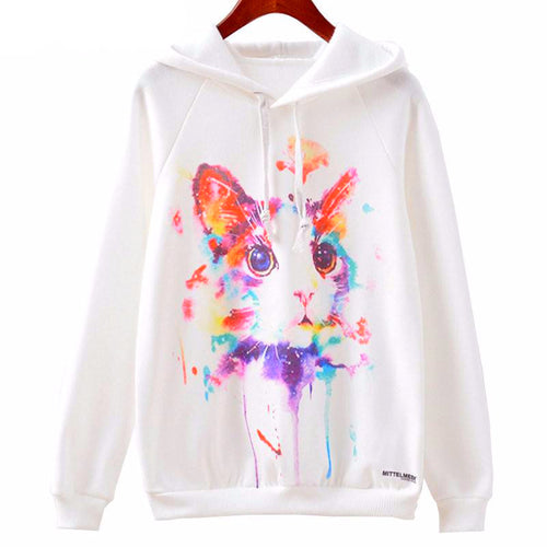 Rainbow Kitty Casual Hoodie - Cat Lovers Australia