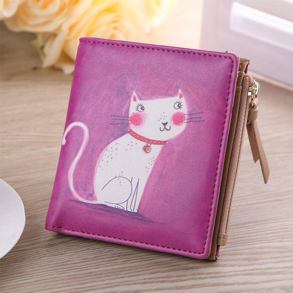 White Kitty Purple/Beige Cat Purse - Cat Lovers Australia