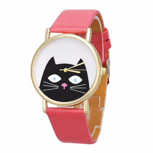 Cat Face Wrist Watch - Pink - Cat Lovers Australia