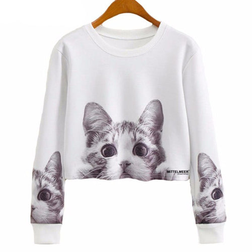 Cat Cropped Casual Jumper - Cat Lovers Australia