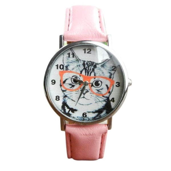 Cat Wearing Glasses Wrist Watch (More Colours) - Cat Lovers Australia