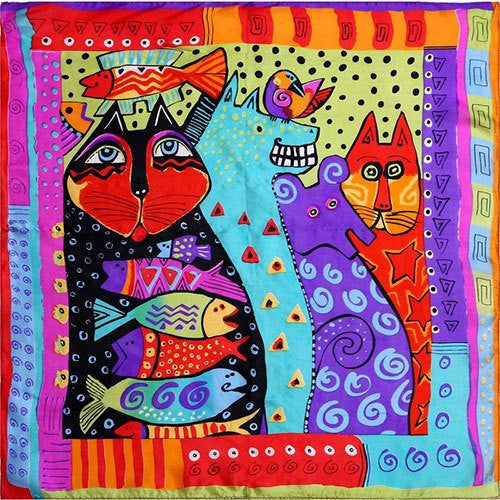 Women's 100% Silk Scarf with Bright Cat Print - Cat Lovers Australia