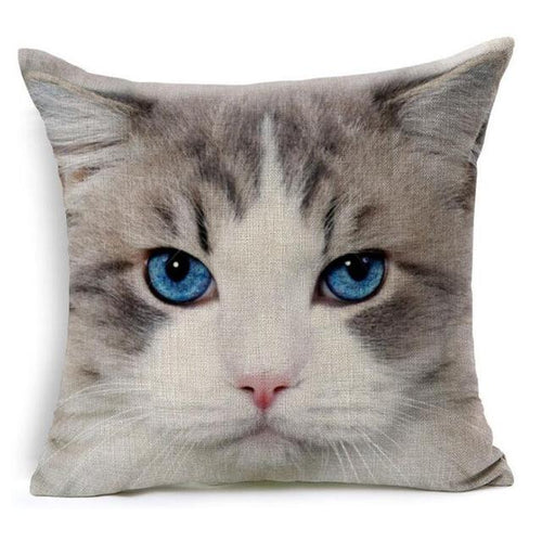 Blue Eyed Cat Design Cushion Cover - Cat Lovers Australia
