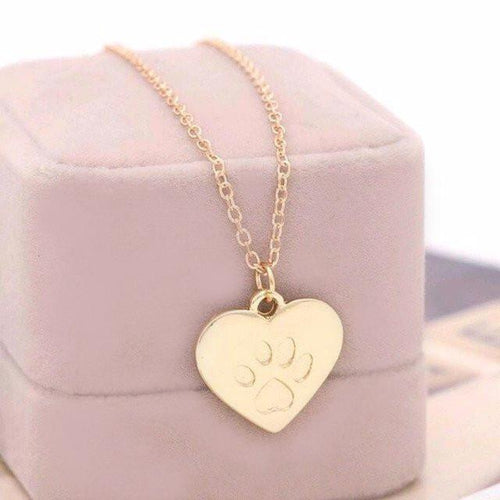 Love Heart Cat Paw Pendant Necklace - Cat Lovers Australia
