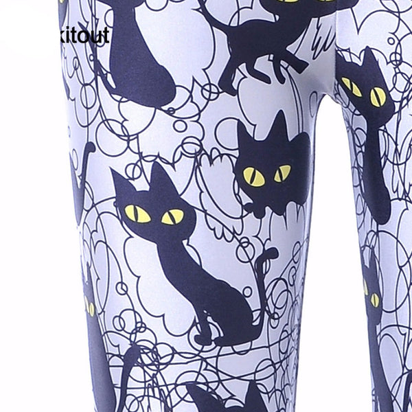 Women's Leggings with Cat Pattern - Cat Lovers Australia