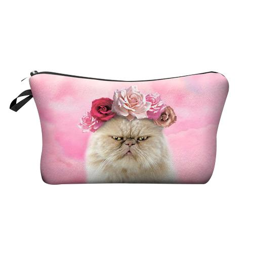 Cranky Cat with Flowers Makeup Bag - Cat Lovers Australia