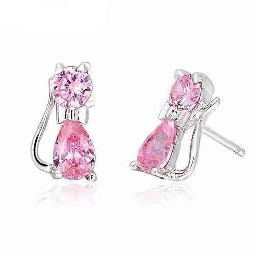 Crystal Cat Pendant Earrings (More Colours) - Cat Lovers Australia