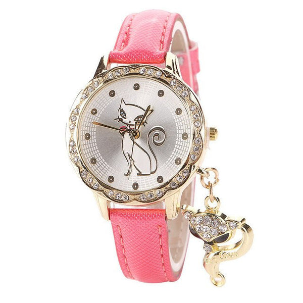 Faux Gold & Diamond Cat Wrist Watch - Pink - Cat Lovers Australia