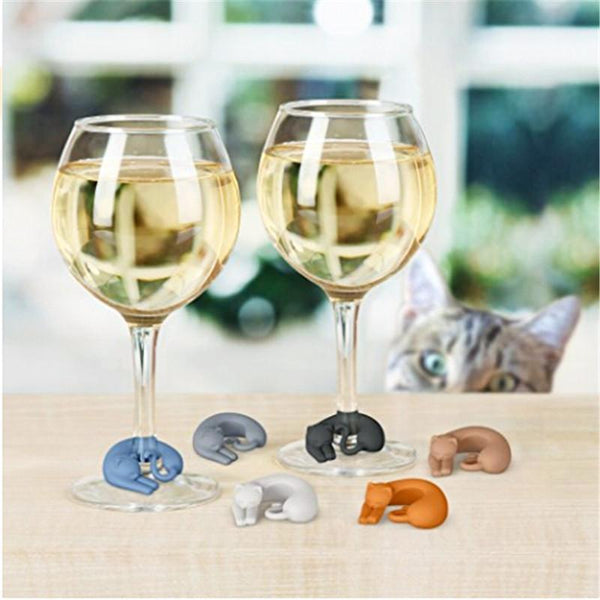 Cat Silicone Wine Charms: Set of 6 Multi-Colour - Cat Lovers Australia