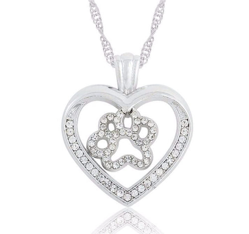 Silver Cat Paw Inside Heart Crystal Pendant Necklace - Cat Lovers Australia