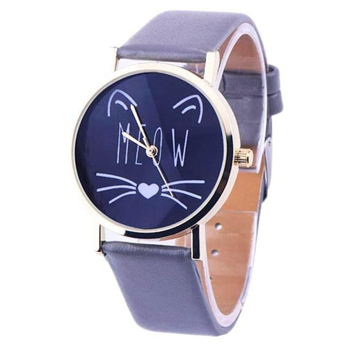 Cat Meow Wrist Watch - Grey - Cat Lovers Australia