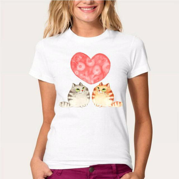 Cat Heart Women's T-Shirt - Cat Lovers Australia