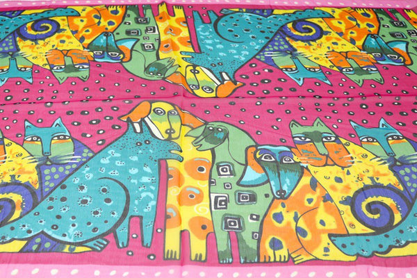 Women's Chiffon Scarf Cat & Dog Print (More Colours) - Cat Lovers Australia