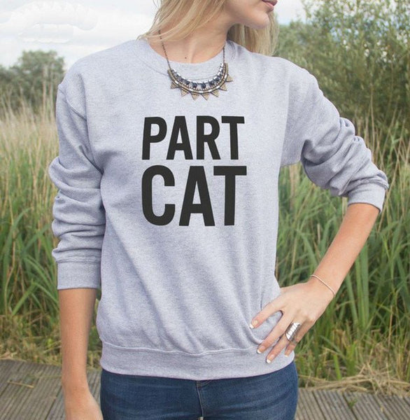 Part Cat Casual Grey Jumper - Cat Lovers Australia