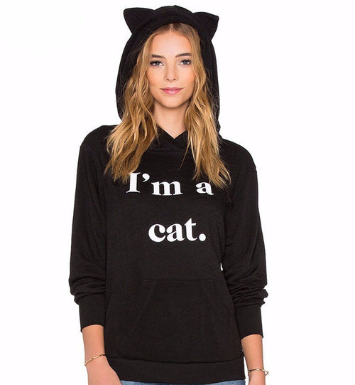 I'm a Cat Casual Black Hoodie - Cat Lovers Australia