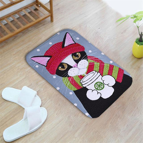 Bathroom, Laundry or Kitchen Mat with Cat Print (More Designs) - Cat Lovers Australia