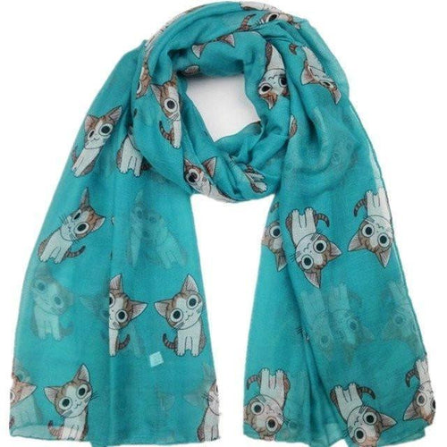Women's Scarf with Cartoon Cat Pattern - Green - Cat Lovers Australia