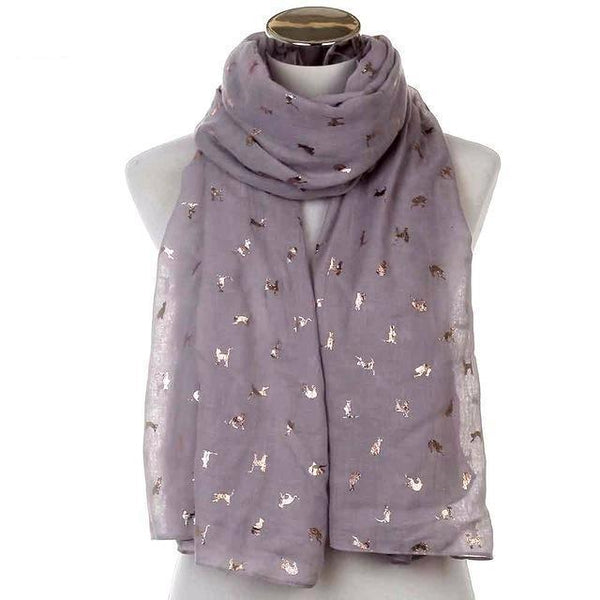 Women's Chiffon Scarf with Rose Gold Cat Pattern (More Colours) - Cat Lovers Australia