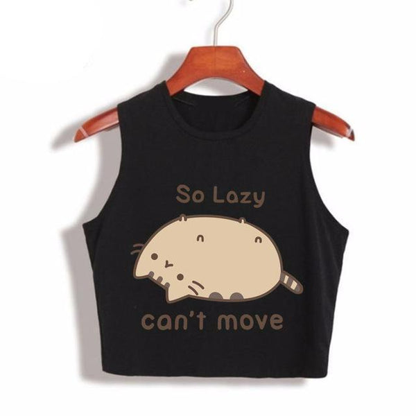 Pusheen The Cat - So Lazy Can't Move Women's Cropped Top (More Colours) - Cat Lovers Australia
