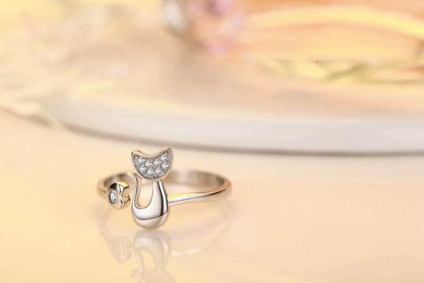 Cat & Heart Faux-Diamond Ring - Cat Lovers Australia