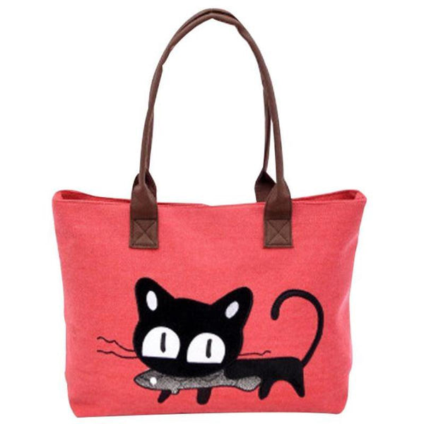 Kitty with Fish Canvas Shoulder Bag - Cat Lovers Australia